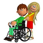 Disabled child sitting in the wheelchair with a young girl