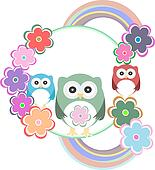 birthday party card with cute birds, owl family and flowers