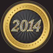 New year 2014 icon, golden with dia