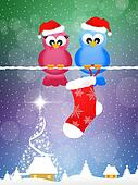 Birds with Christmas socks