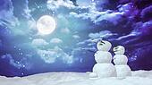 Christmas snowman moon