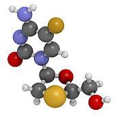Emtricitabine HIV treatment drug, chemical structure.