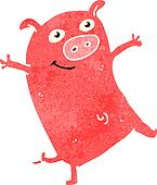 retro cartoon piglet