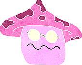retro cartoon magic mushroom character
