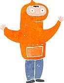 retro cartoon boy in hooded top