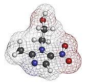 Metronidazole antibiotic drug (nitroimidazole class), chemical s