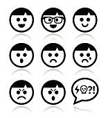 Smiley faces, avatar vector icons s