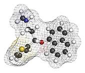 Duloxetine antidepressant drug (SNRI class), chemical structure.