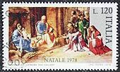 Nativity scene postage stamp