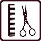 sign with black scissors and comb