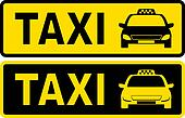 black and yellow taxi sign