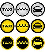 set of taxi signs