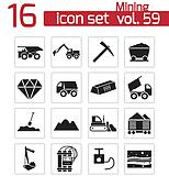 Vector black mining icons set