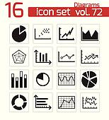 Vector black diagrams icons set