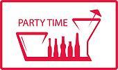 bottle, wineglass - party symbol