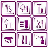 set of hair care icons