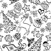 Christmas seamless pattern, contour