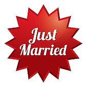Wedding star. Just married sticker. Illustration.