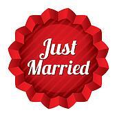 Wedding star illustration. Just married sticker.