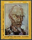 CUBA - CIRCA 1972: A stamp printed in CUBA show don quijote de la mancha, dedicated the Miguel de Cervantes Saavedra (1547-1616), Spanish author,circa 1972
