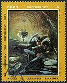 CUBA - CIRCA 1972: A stamp printed in CUBA show en unlugar de la mancha, dedicated the Miguel de Cervantes Saavedra (1547-1616), Spanish author,circa 1972