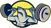 Shark Weightlifter Lifting Weights