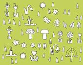 Cartoon Vegetation Collection in black and white