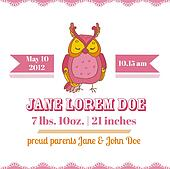 Baby Shower or Arrival Cards - Owl Theme - with place for your text - in vector