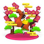Cheerful Horse And Pink Plum Trees