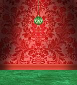 Christmas Room With Red Damask Wallpaper