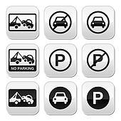 No parking, cars buttons set