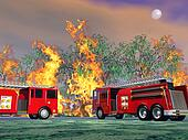 Fire trucks in action - 3D render