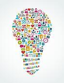 Social media icons isolated idea light bulb EPS10 file.
