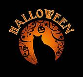 Happy Halloween text spooky forest and black cat  EPS10 file.