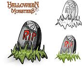 Halloween monsters spooky tombstone illustration EPS10 file
