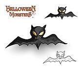 Halloween monsters spooky vampire bat illustration EPS10 file
