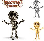 Halloween monsters spooky mummy illustration EPS10 file