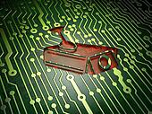 Protection concept: Cctv Camera on circuit board background