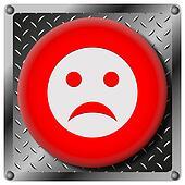 Sad smiley metallic icon