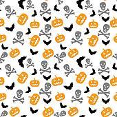 pumpkins, bats and skull