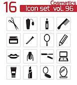 Vector black  cosmetics  icons set