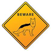 Shepherd Dog Warning Sign