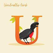 Animal alphabet with umbrella bird
