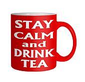 Keep calm drink tea red mug on white