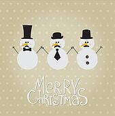 Retro Snowman with Mustache and Hats - for Christmas and New Year - in vector