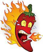 Hot Chili Pepper On Fire Cartoon