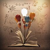 drawing idea pencil and light bulb concept outside the book as creative vintage style concept