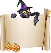 Halloween witch cat scroll