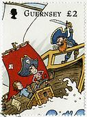 GUERNSEY - CIRCA 2010: A stamp printed in Guernsey shows illustration the adventures of Penny the Postie,by Keith Robinson, circa 2010