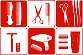 barbershop tools on set backgrounds